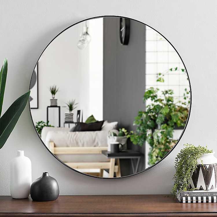 Black Metal Mirror Round Black Metal Mirror 30 In Kirklands Living Room Mirrors Mirror Wall Mirror