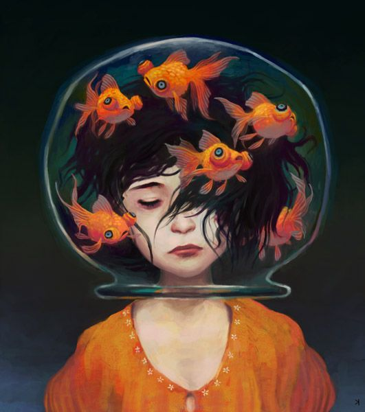 Image result for girl fish bowl painting