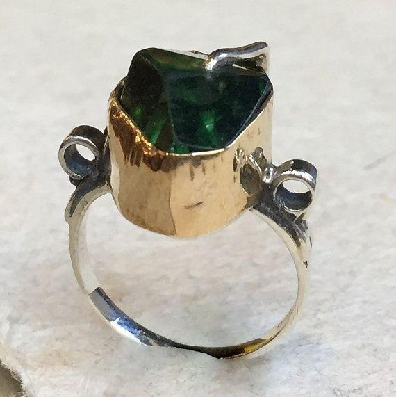 OOAK ring Green quartz ring organic design ring by artisanimpact