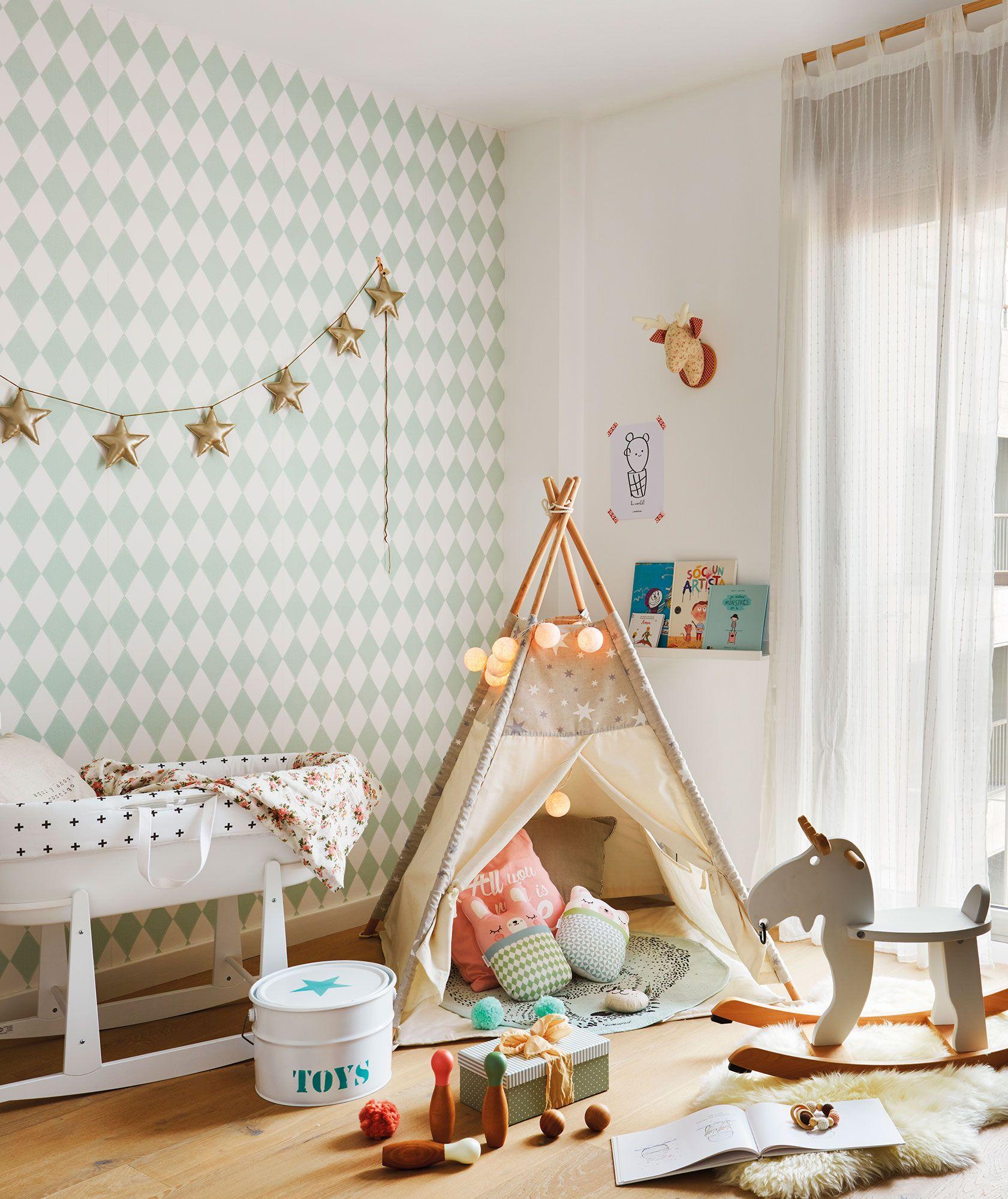 Habitaci N Infantil Con Cuna Tipi Y Papel Pintado _445624  ~ Papel Pintado Para Habitacion Juvenil De Niña