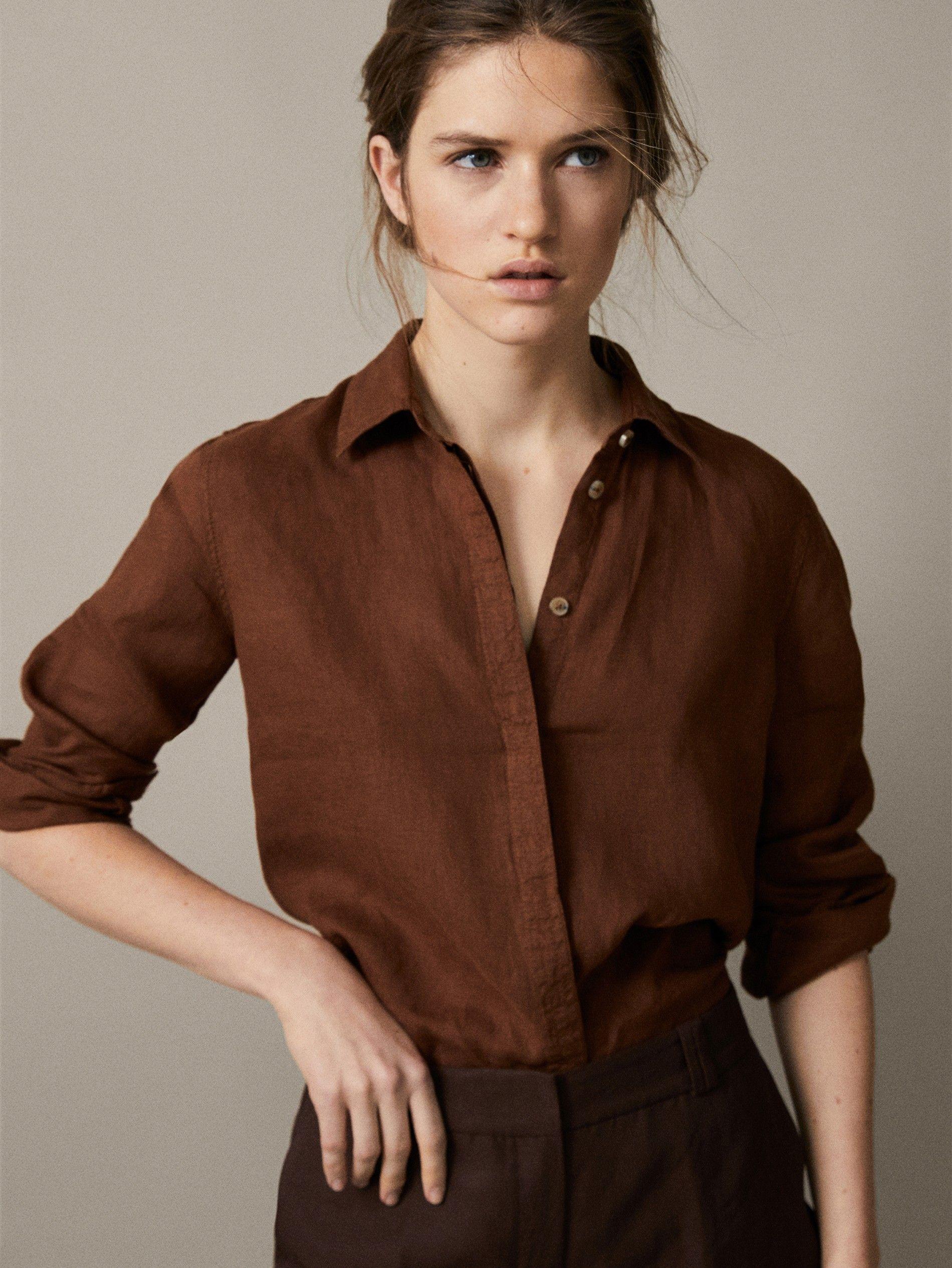 100% plain linen shirt | Dress shirts for women, Collared