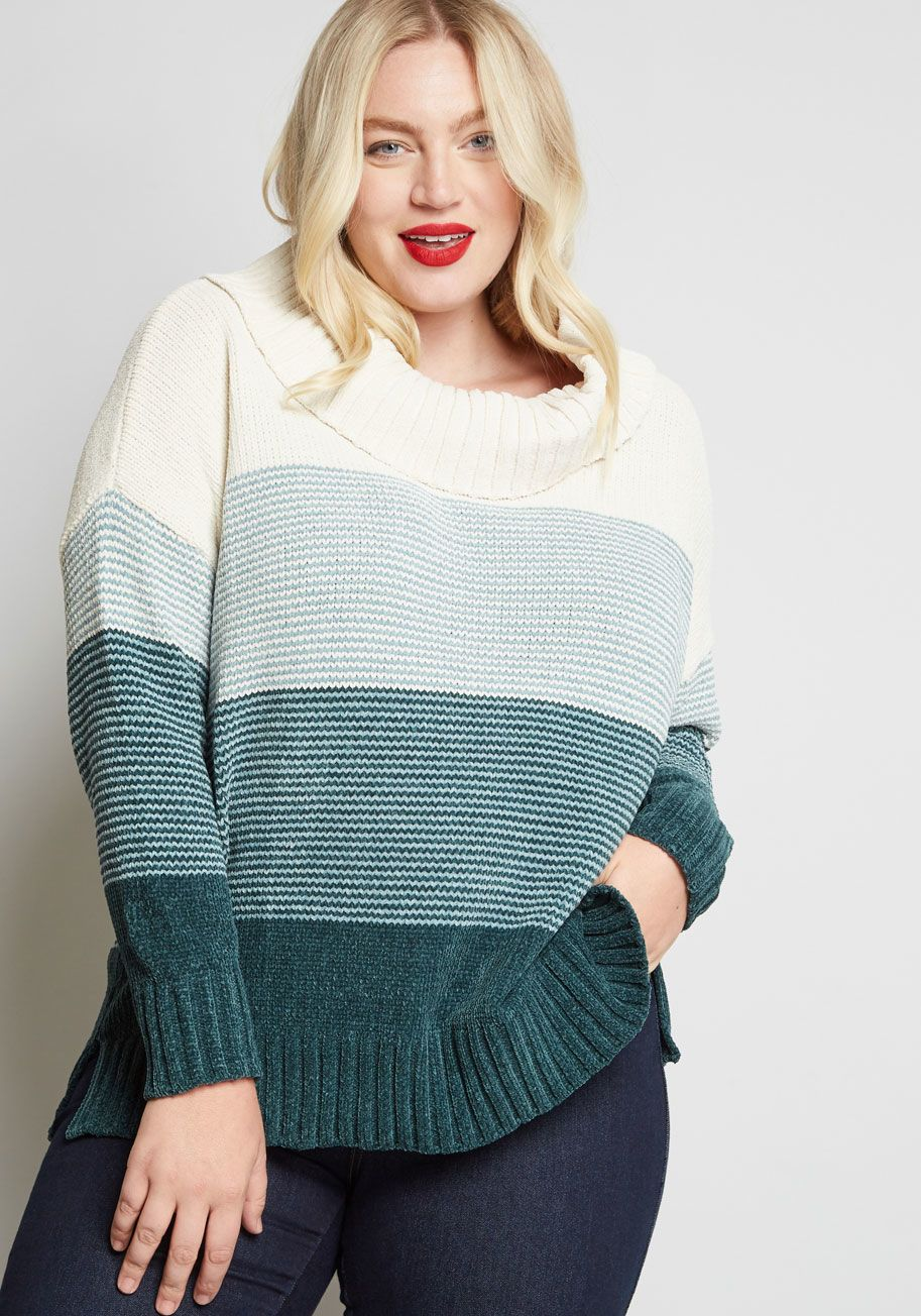 Play It Cowl Chenille Sweater Plus Tops Sweaters Plus Size