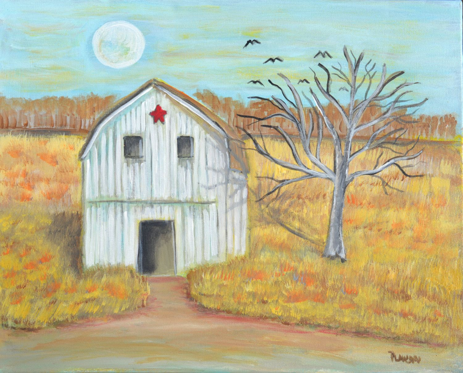 landscape painting rustic decor primitive decor barn on Rustic Country Paintings id=76449