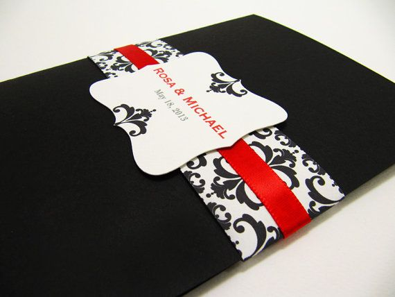 black and red wedding invitation pocketfold suite sample