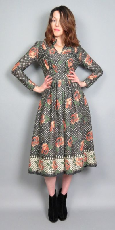 562ff9309a Vintage 60s 70s Rose Midi Dress Mod Floral Print 1960s 1970s Long Sleeve  Fit and Flare