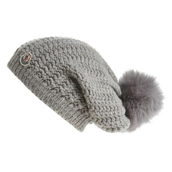 Women s Moncler Waffle Knit Beanie With Genuine Fox Fur Pom ( 350) ❤ liked  on Polyvore featuring accessories b7628ea97e8