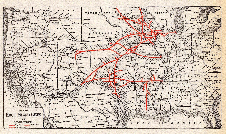 1933 antique rock island lines railroad map vintage