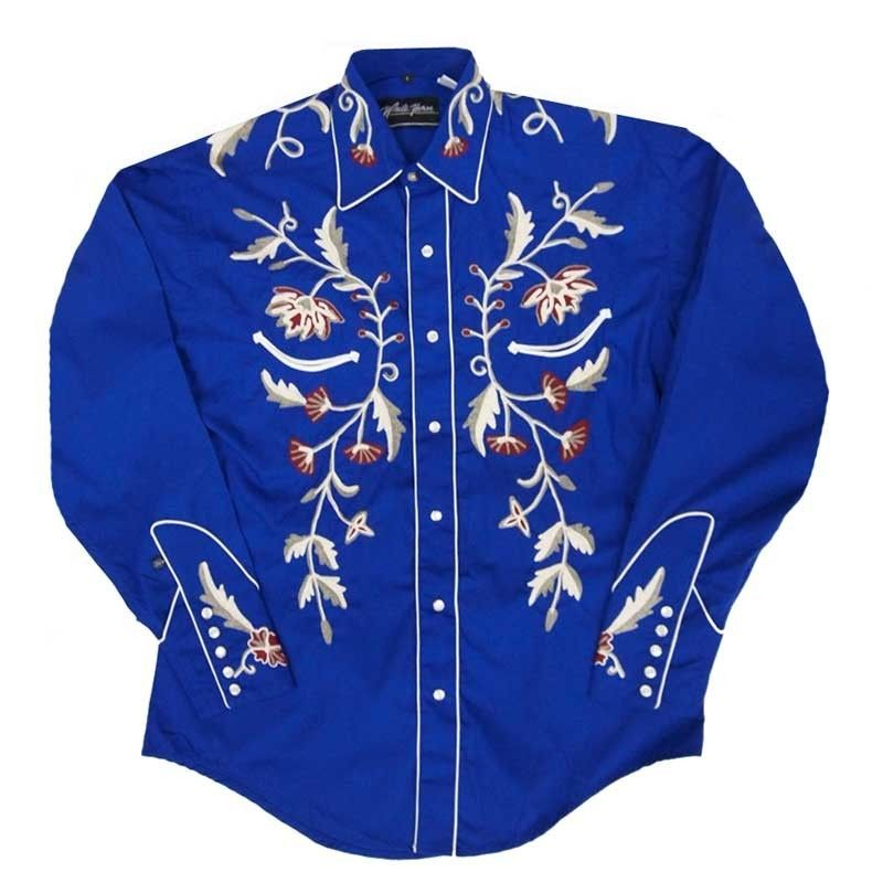 White horse apparel men s flower embroidery western shirt
