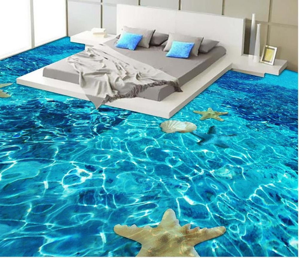 Beach Floor Murals In Wall Stickers 3D Wallpaper Floor For