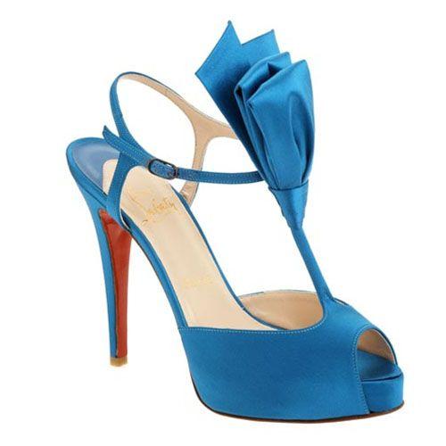 35294042762 Christian Louboutin Ernesta Bow T-Strap Satin Sandals Teal