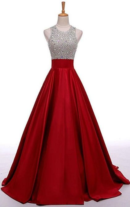 Red Prom Dresses Long Prom Dresses Red Long Beading A Line Prom