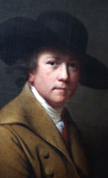"""Satorial Selfie! Joseph Wright of Derby (1734–1797), 1780, English landscape & portrait painter. Acclaimed as """"the first professional painter to express the spirit of the Industrial Revolution"""". His paintings of the birth of science out of alchemy, often based on meetings of the Lunar Society, a group of influential scientists & industrialists from the English Midlands, are a significant record of the struggle of science against religious values in the period known as the Age of…"""