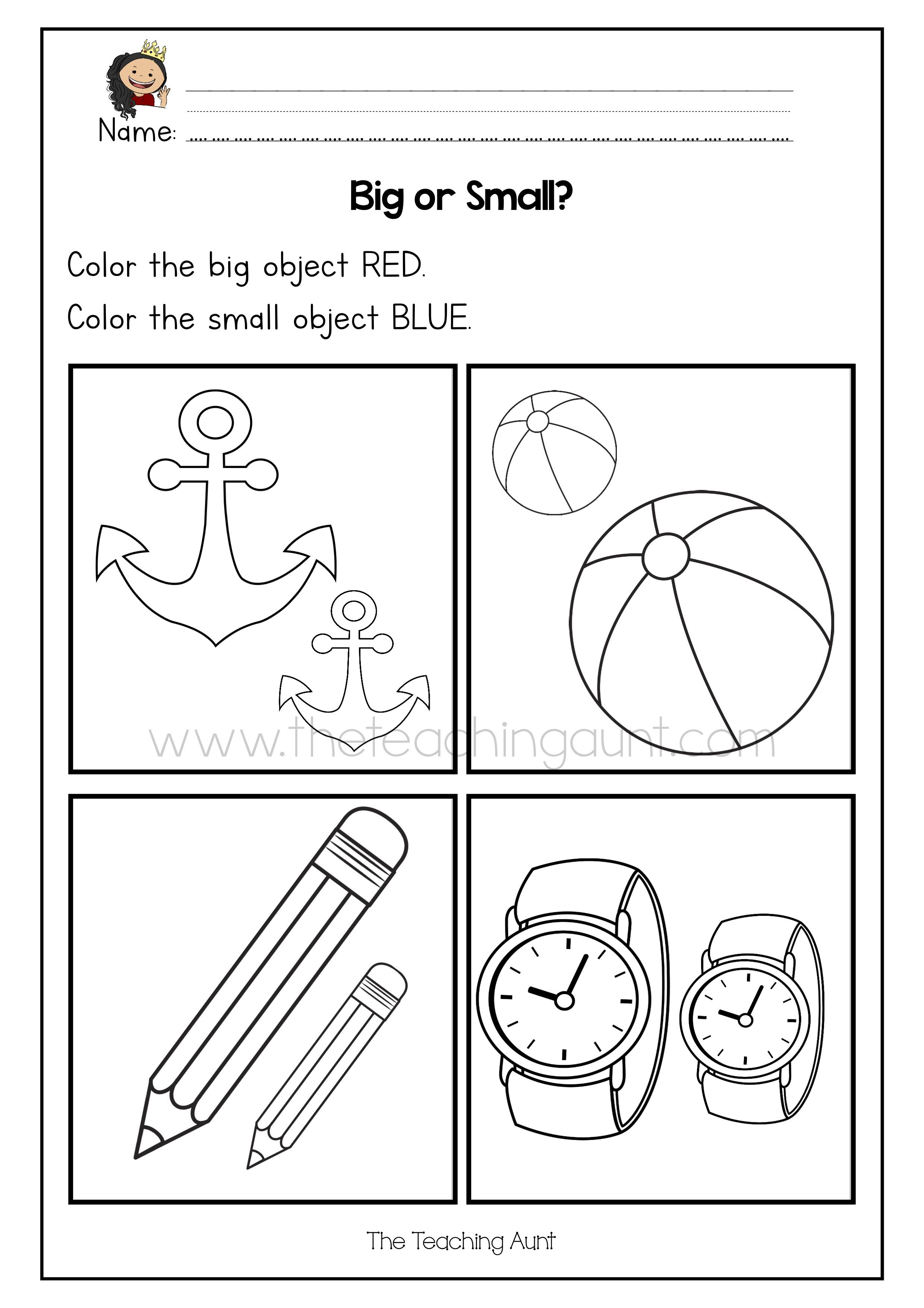 Big Or Small Worksheets Free Printable