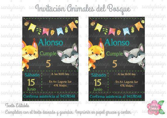 Invitacion Animales Del Bosque Por Sandydesigntienda En Etsy Invitations Invitation Design Etsy