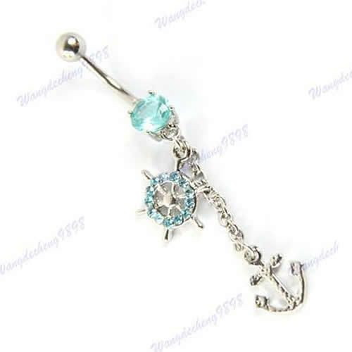 Blue dangly belly button ring