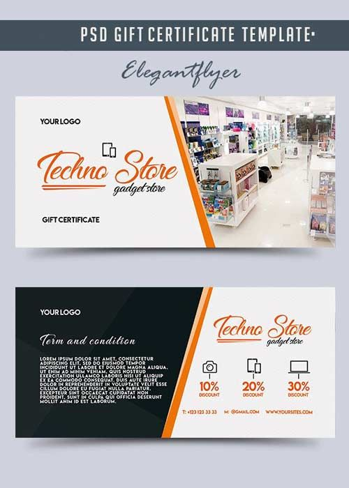 Techno Store v5 Gift Certificate PSD Template Free Download - gift certificate download
