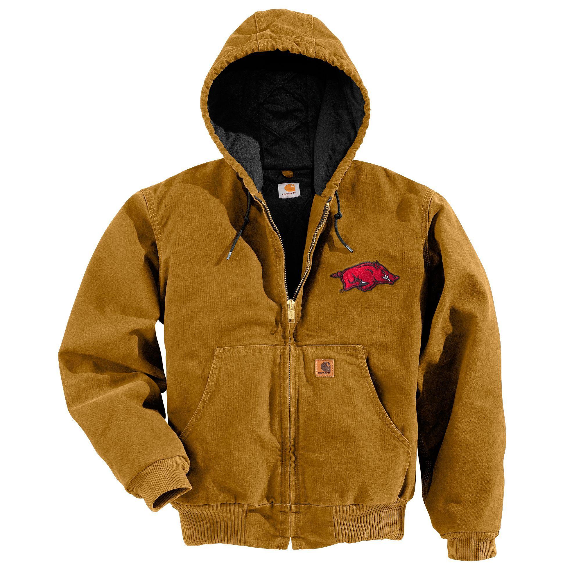 Mens hooded flannel jacket  Carhartt Mens Fayetteville QFL Sandstone Active Jkt  Carhartt
