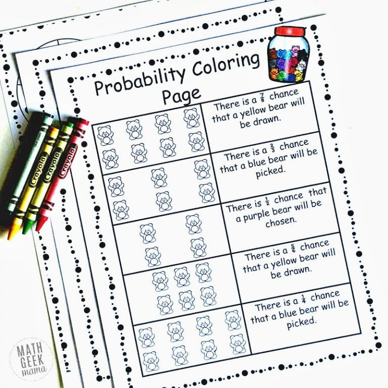 Simple Coloring Probability Worksheets For Grades 4 6 Free Math Concepts Probability Worksheets Probability Activities Simple probability worksheets
