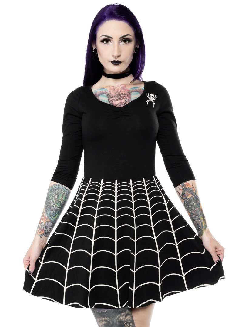 KREEPSVILLE 666 SPIDERWEB SKATER DRESS BLK WHT - This adorably spooky dress  in classic black and white will make you feel like you re caught right in  the ... 12e63f4fe