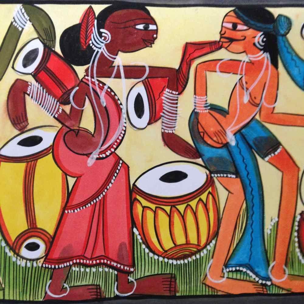 Festivity' Santal Painting | Puzzle art, Indian folk art, Small paintings