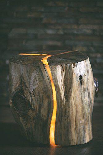 16 id es lumineuses pour clairer votre jardin diff remment en bois tronc d 39 arbre luminaire