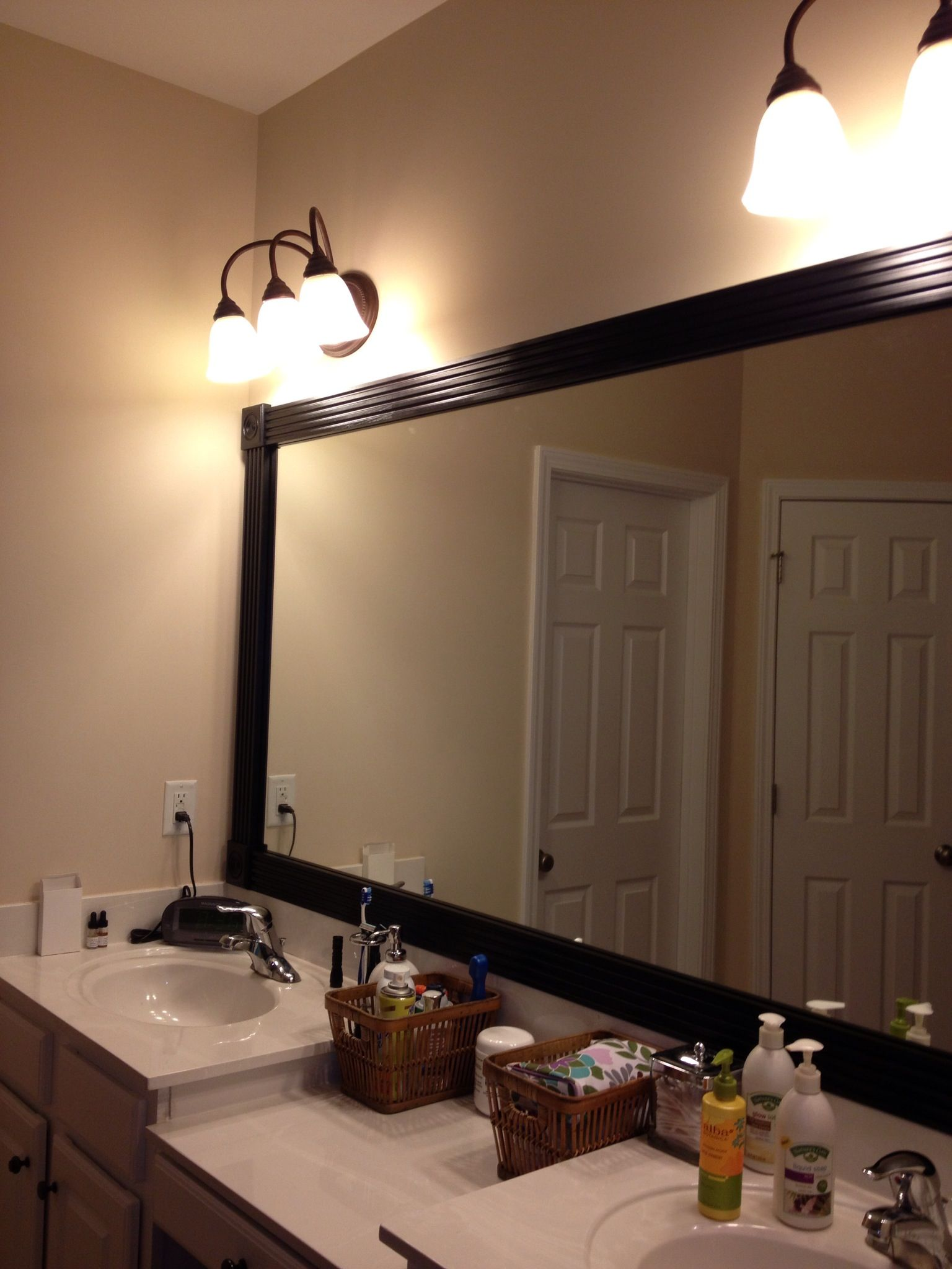 Bathroom mirror framed | Ideas I stole from Pinterest and actually ...