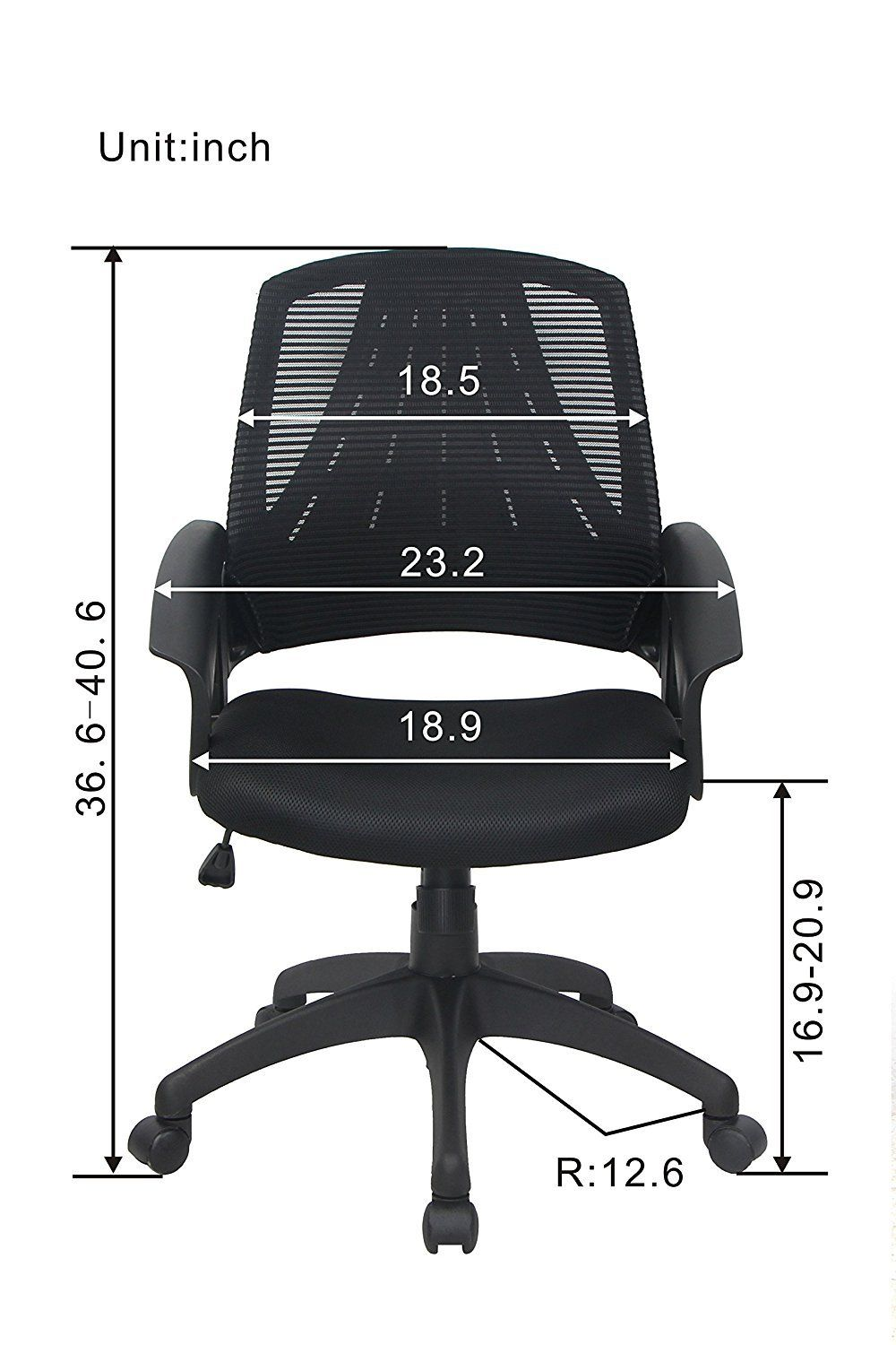 Bonum Mesh Adjustable Desk Office Chair Midback Fabric Swivel Home Task Chair With Padded Seat And Armrest Black You Office Chair Adjustable Desk Task Chair