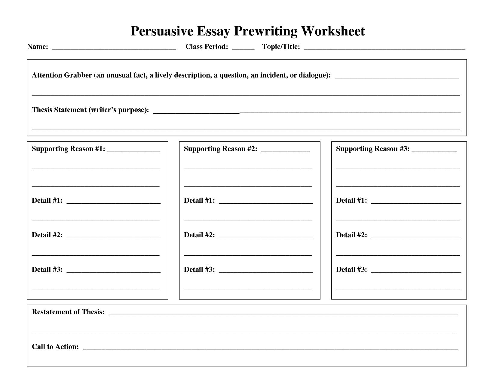 Persuassion Essay Worksheet Google Search Writing Worksheets Essay Outline Reading Comprehension Worksheets [ 1275 x 1650 Pixel ]