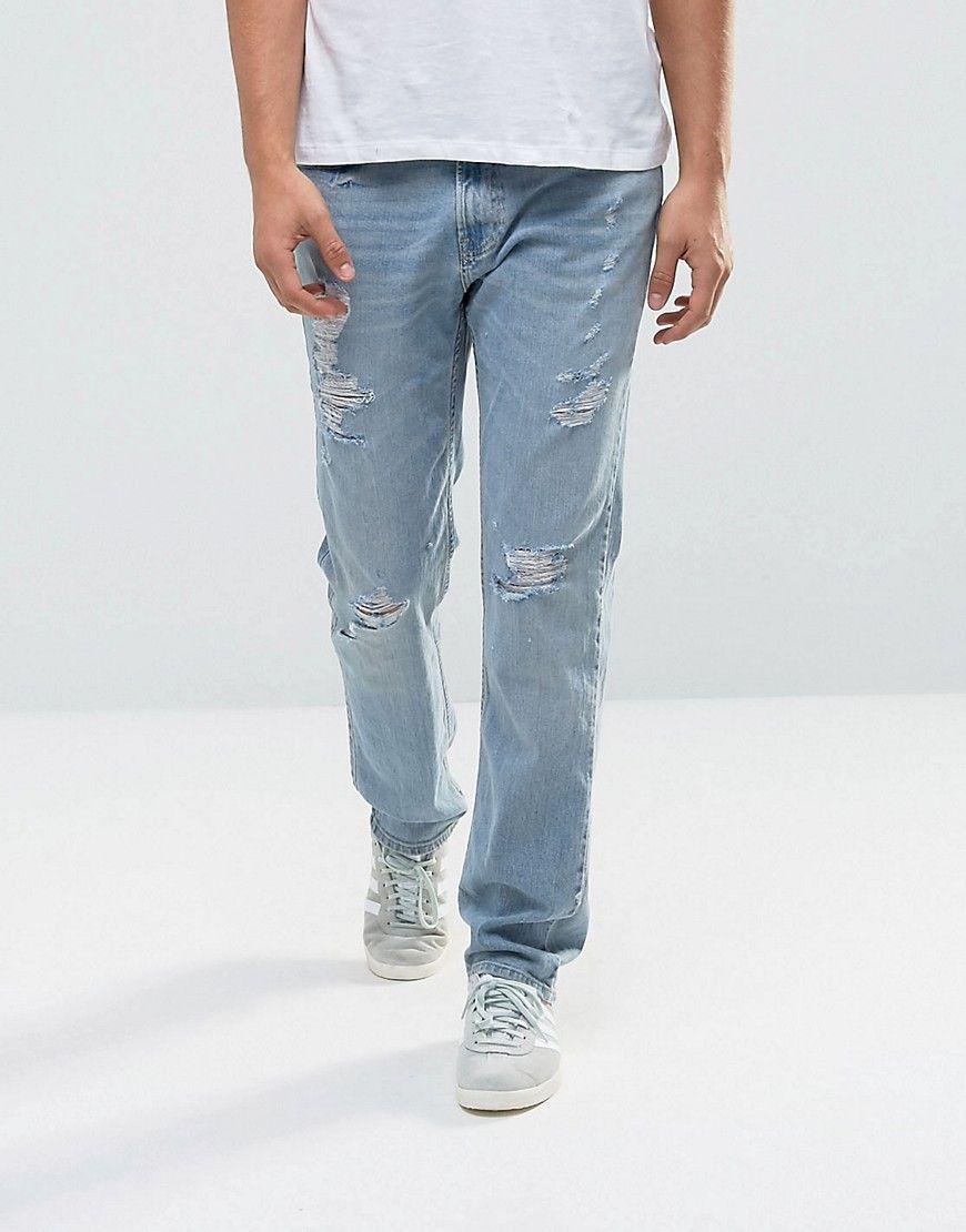 c9be606751 Hollister Jeans Slim Fit Destroyed Light Wash - Blue