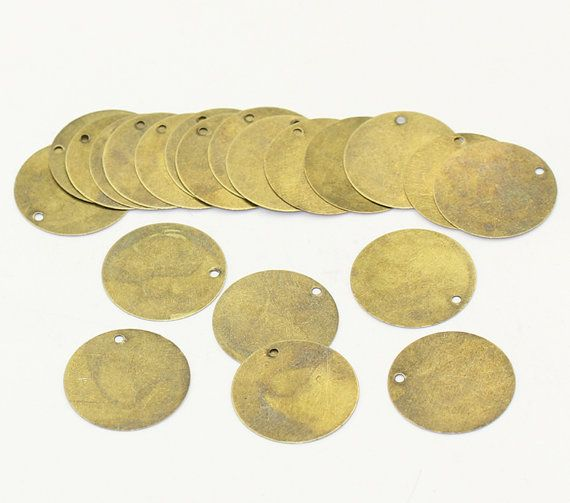 """20 Antique Bronze Tone Metal Stamping Blanks Charms 20mm 3//4/"""" ROUND DISC msb0127"""