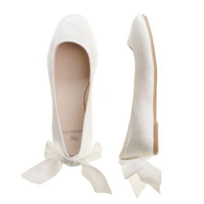 White Satin Bridesmaids Flower Girls Wedding Communion Pumps Flats Shoes LILY
