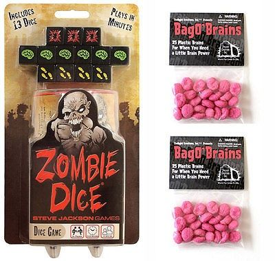 nice Zombie Dice Game w 2 Bag O' Brains Family Party 50 Plastic Brain Markers 131313 - For Sale Check more at http://shipperscentral.com/wp/product/zombie-dice-game-w-2-bag-o-brains-family-party-50-plastic-brain-markers-131313-for-sale/
