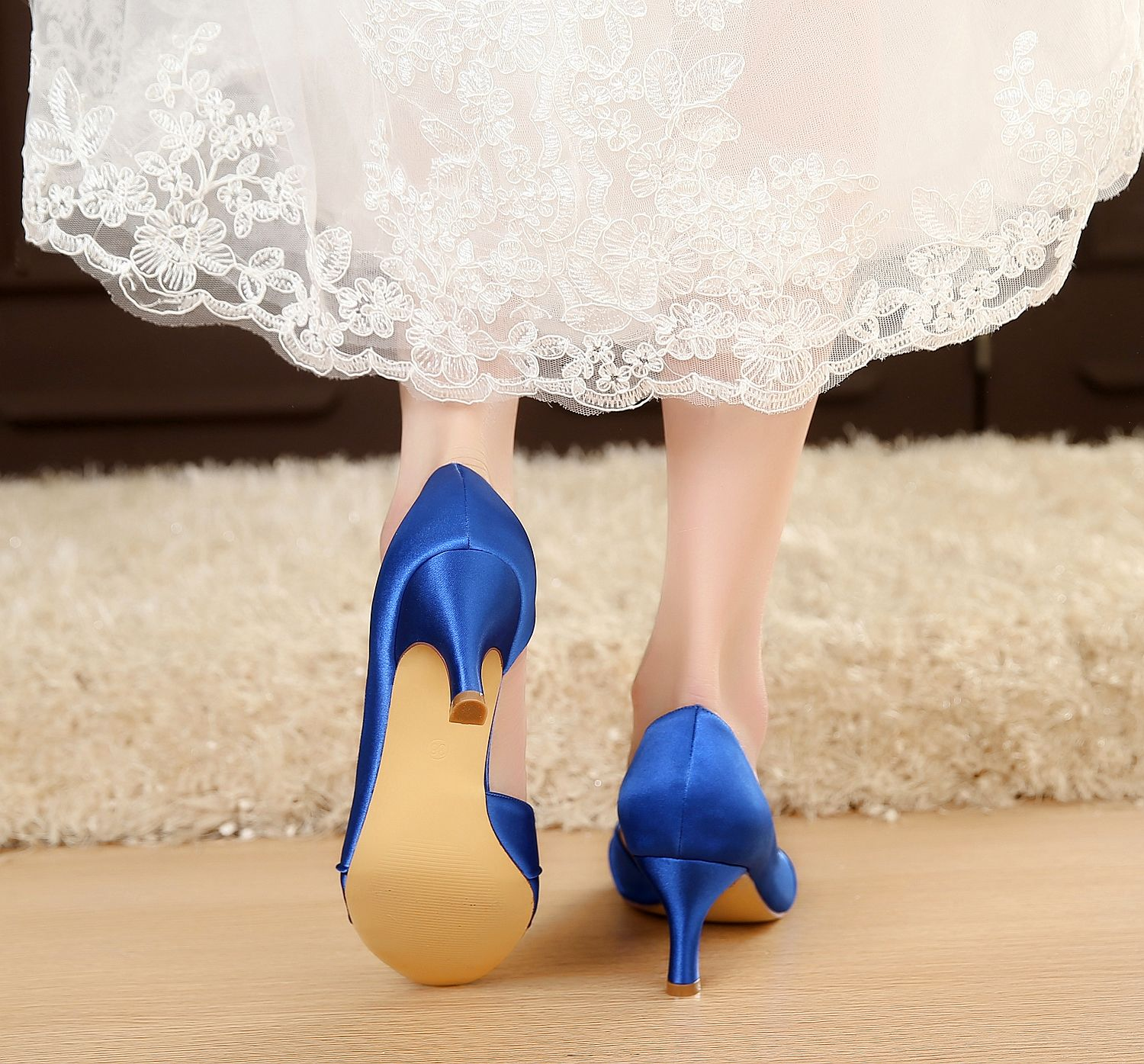 satin Elegant Satin Shoes Royal Blue Dress Shoes Blue Bridal