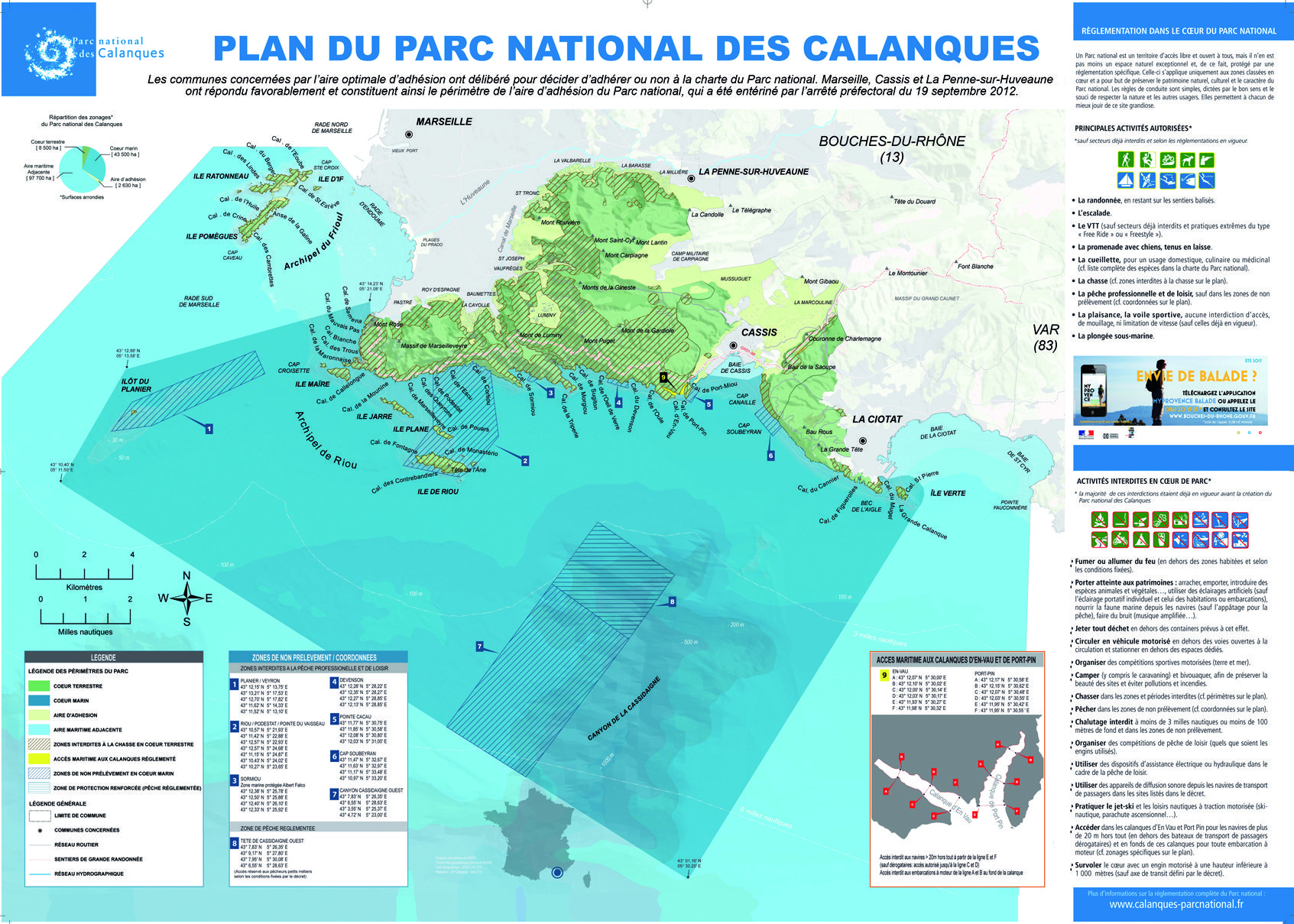 Plan du parc national des calanques marseille cartes et for E parking marseille
