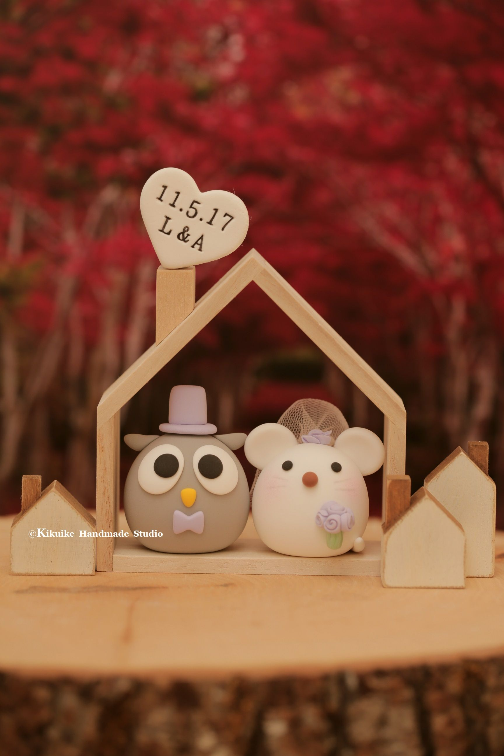 Owl and mouse mice wedding cake topper mochiegg cake topper