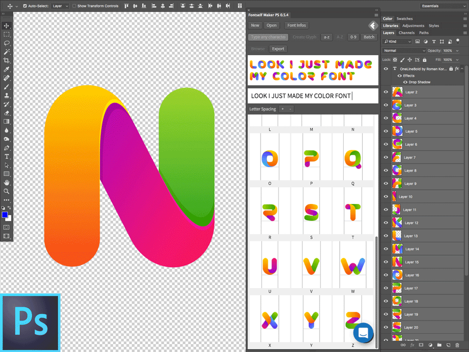 How to put a font into photoshop