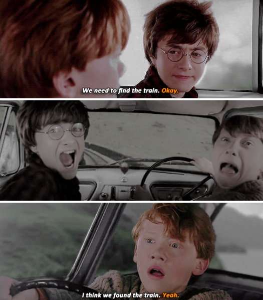 Harry Ron And The Flying Ford Anglia The Enchanted Car I Love That Car Harry James Potter Ron And Harry Hp Harry Potter