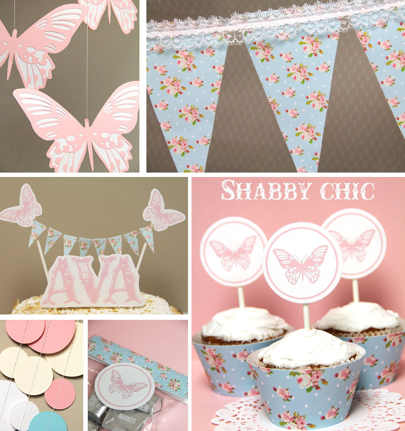 Pink Butterfly Cupcake Toppers U0026 Floral Cupcake Wraps   Shabby Chic  Collection (set Of 12 · Vintage Baby ShowersChic ...