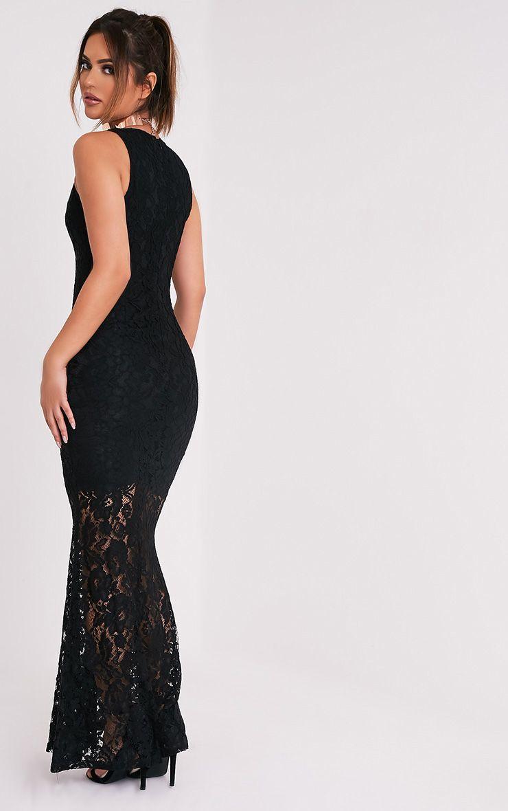 60883b29b8b8 Tarra Black Lace Fishtail Maxi Dress