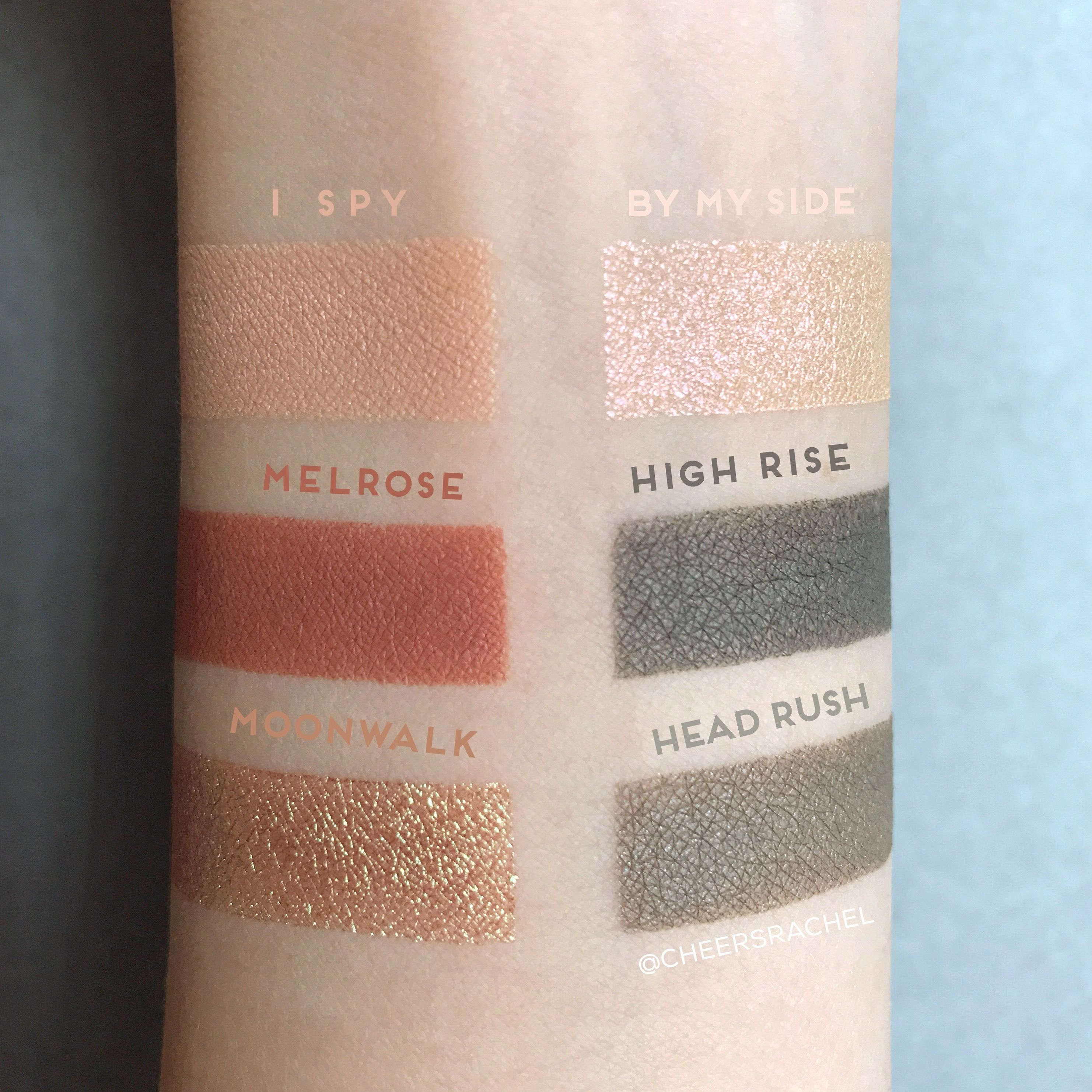 Swatches of the ColourPop Love A Flare Super Shock Shadow Collection! From the ColourPop Fall Edit. Set contains 6 Super Shock Shadows in: I Spy, By My Side, Melrose, High Rise, Moonwalk, and Head Rush. (Also sold individually)