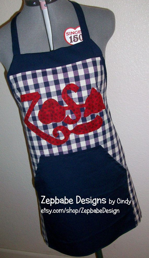Handmade Apron with Led Zeppelin Zoso applique. Blue with Red Letters/Symbols. One Size Fits All! ONE OF A KIND!
