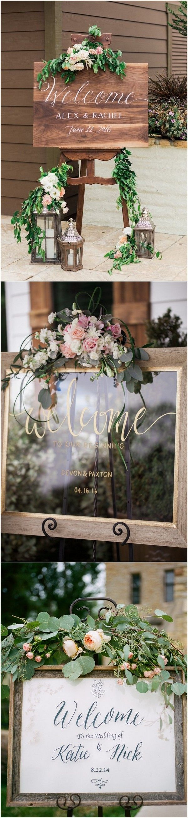 Chic rustic wedding welcome sign ideas cakes pinterest