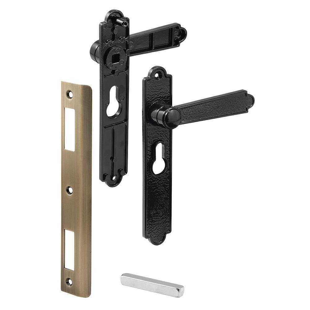 Prime Line Security Door Lever Set Black Dimpled Door Levers