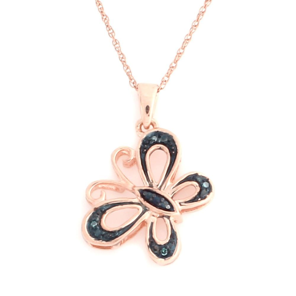 "18K Rose Gold Over Sterling Blue Diamond Butterfly Pendant w/ 18"" Chain #jewelryauctionhouse #ButterflyPendant"