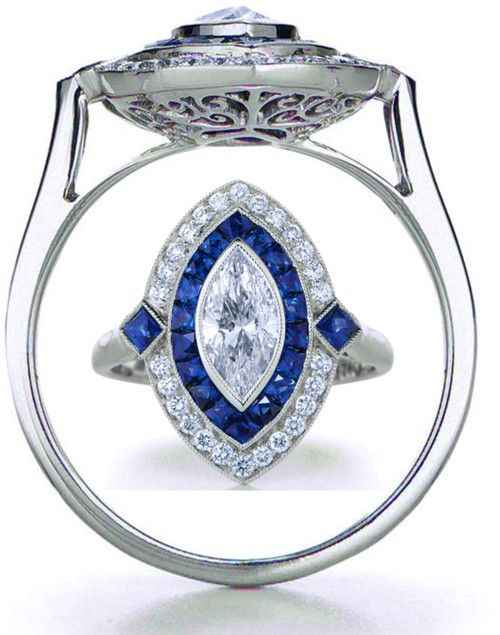 Art Deco Marquise Engagement Ring