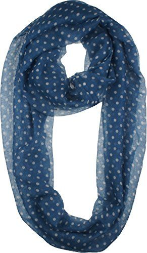 Vivian & Vincent Soft Light Weight Small Polka Dot Sheer Infinity Scarf Royal Blue. Vivian & Vincent Exclusive. 100% Viscose. Versatile with various outfits, can be Enjoyed All Year Long!. Cold Water, Hand Wash. 19 inches wide, 60 inches total loop.