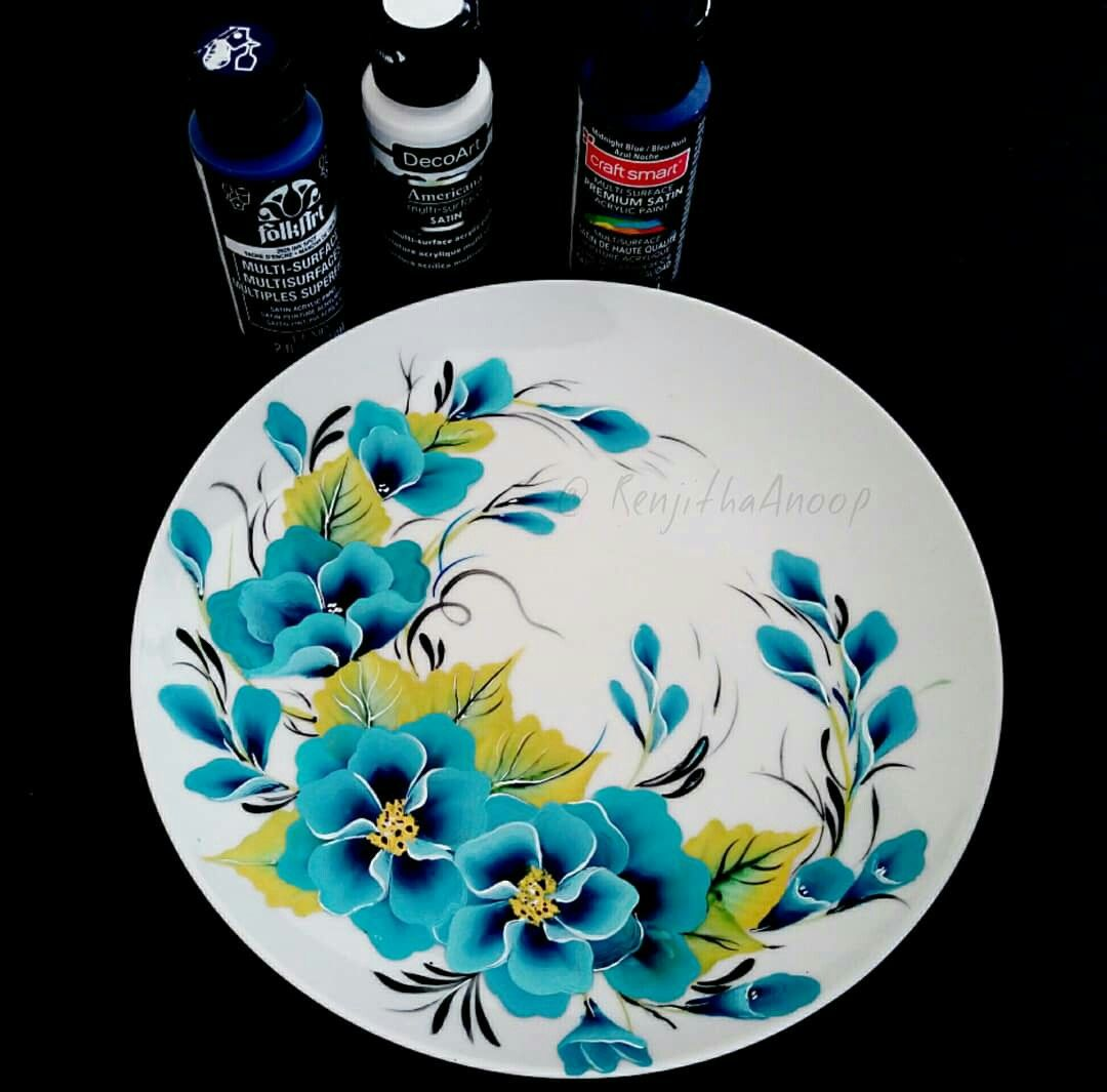 Acrylic Painting On Plate Ceramic Plate Decoration Painting On Plates Multisurfacepaint Onestrokepainting Pottery Painting Glass Painting Painted Plates