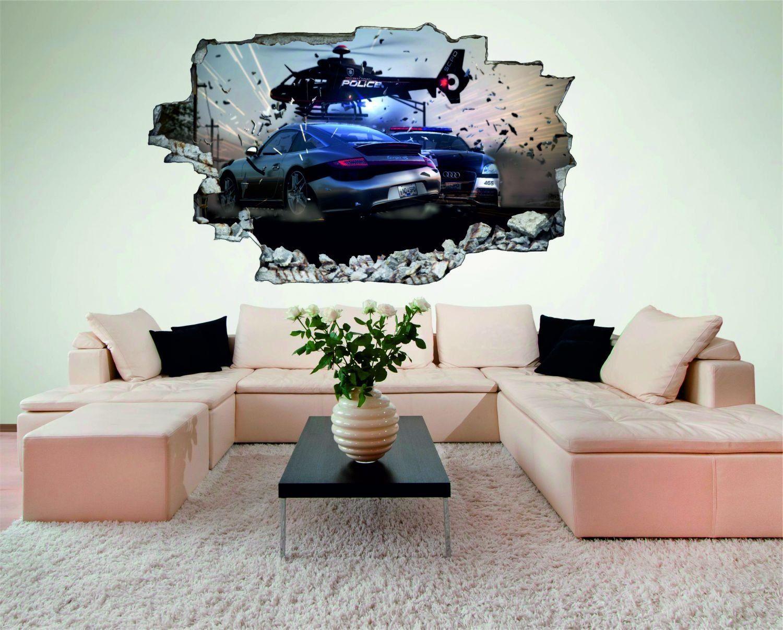 Coole Wandgestaltung Für Ein Kinderzimmer, Jugendzimmer Oder Auch Für Das  Wohnzimmer | Polizei Auto Hubschrauber