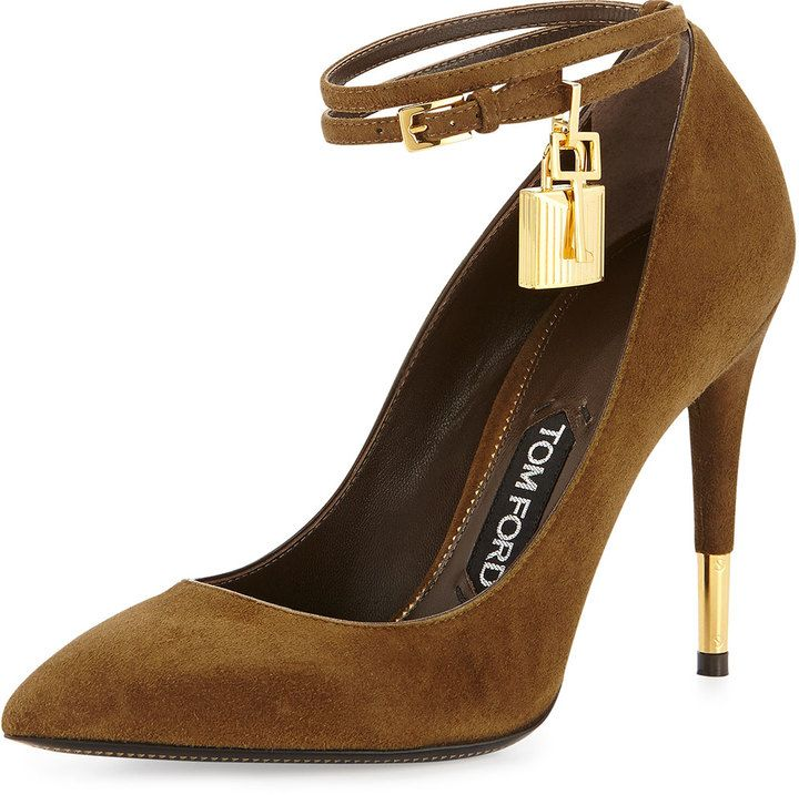ad3554054e3 Tom Ford Suede Padlock Ankle-Strap Pump