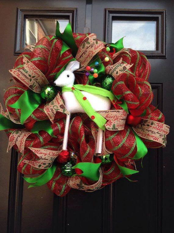 Mesh WreathDeer wreathChristmas wreathWinter by MabelsWreaths